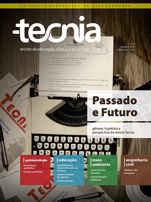 Imagem de capa da primeira edição da Tecnia com foto envelhecida de máquina de escrever antiga com felicitação por recebimento da edição da Tecnia em 1993